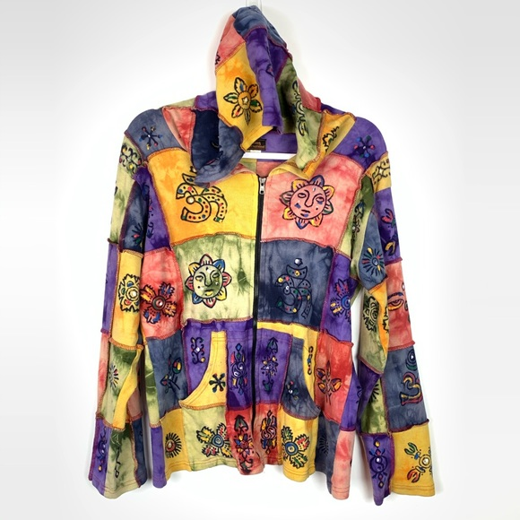 Rising International Jackets & Blazers - Rising International Tie Dyed Patch ZIP Up Jacket